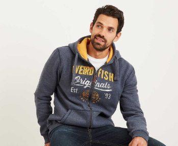 Weird Fish - image of a man wearing a Weird Fish hoody